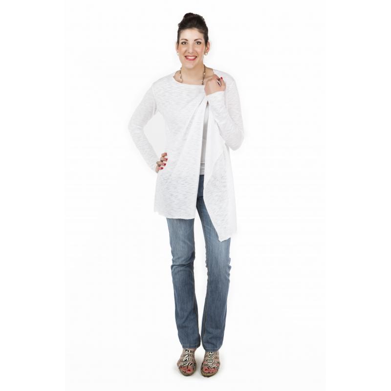 l 39 effet des v tements gilet long blanc femme grande taille damart. Black Bedroom Furniture Sets. Home Design Ideas