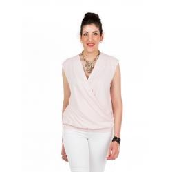 T-shirt rose pâle croisé avec empiècement ceinture