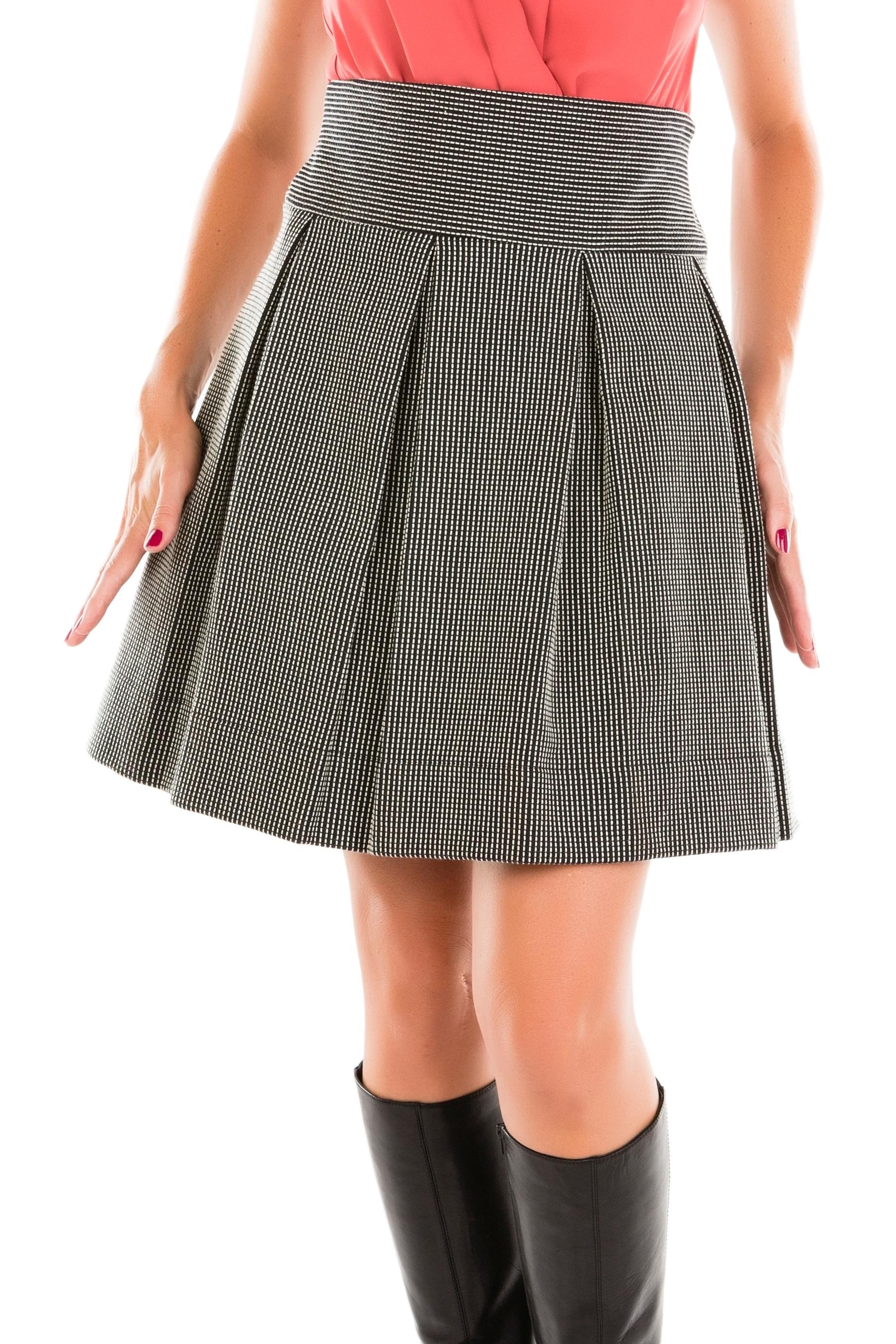 Jupe rayée texturée à gros plis plats