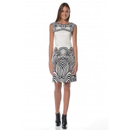 White dress in zebra print