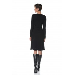 Black round neckline dress