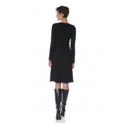 Black round neckline dress