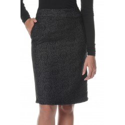 Dark Grey Skirt with Black Print
