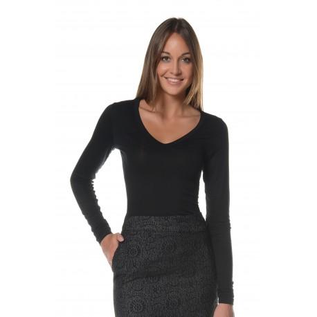 bd9ce34bb530 T-shirt manches longues noir col V vetement femme grande taille