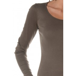 Kaki T-shirt with Long sleeves and round neckline