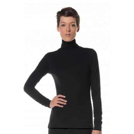 Tee-shirt manches longues noir col roulé