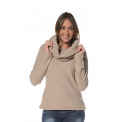 Pull beige col amovible