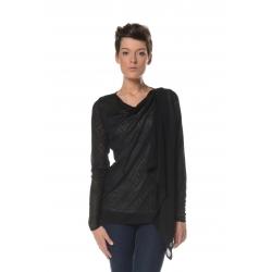 Gilet noir maille crochet motif losange