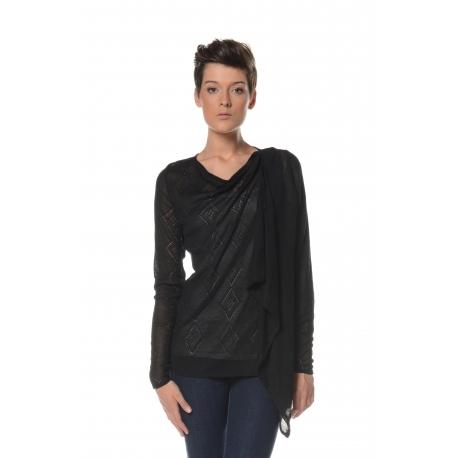 Black crochet cardigan with diamond openwork