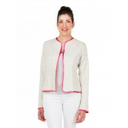 Beige jacket with pink binding