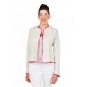 Beige jacket with pink binding