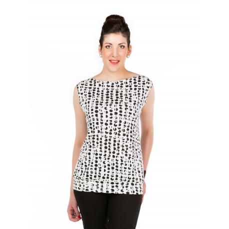 T-shirt blanc à pois noirs avec empiècement ceinture