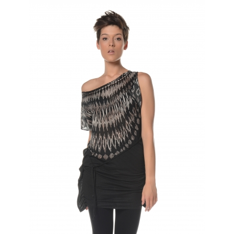 Long top with feather print