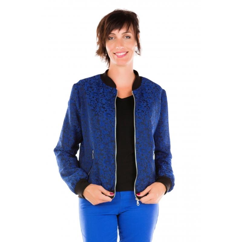 Bleu Bleu Bleu Vêtement Aviateur Femme Femme Femme Femme Roi Blouson Taille Dentelle Grande IEqqw