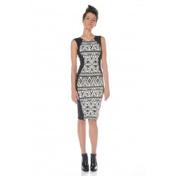 Black and white dress in geometric print