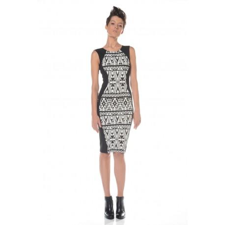 Black and white dress in geometric print