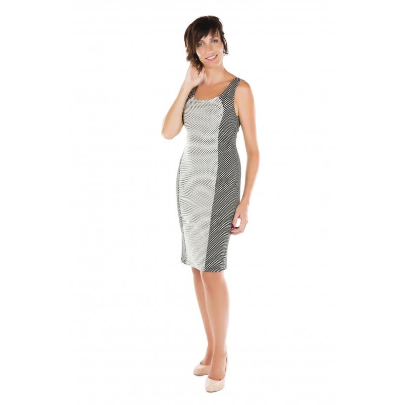 robe cintree a pois noirs et blanc vetements femme grande taille. Black Bedroom Furniture Sets. Home Design Ideas