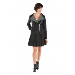 Veste perfecto noire tissu texturé