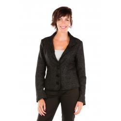 Veste de tailleur anthracite à motifs texturés noirs