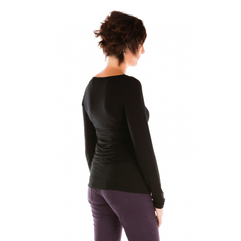 t shirt manches longues noir col rond vetement femme grande taille. Black Bedroom Furniture Sets. Home Design Ideas