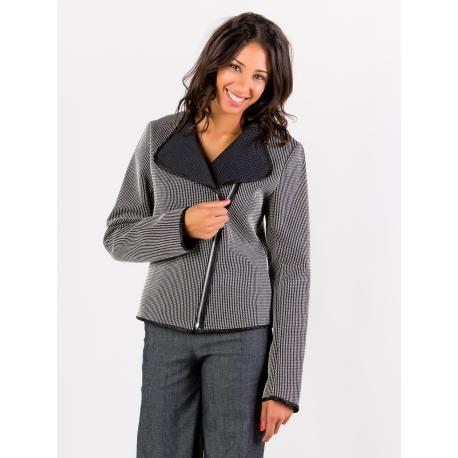 Veste perfecto rayée noir et blanc tissu texturé