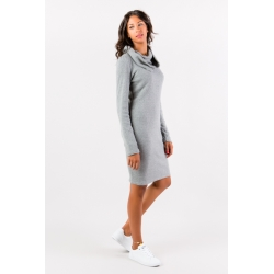 Pearl gray sweater dress with removable collar