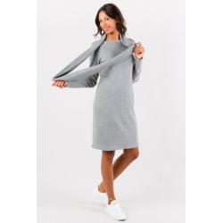 Robe pull gris perle col amovible