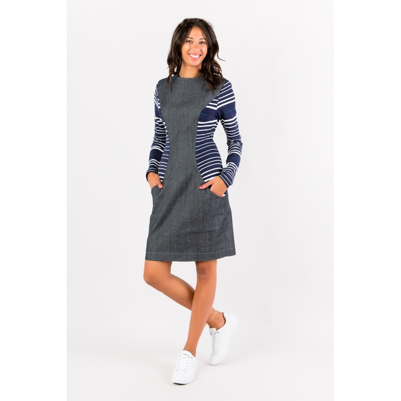 Long Sleeve Jeans Dress Flamenzo