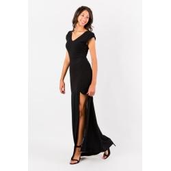 Robe longue noire fendue