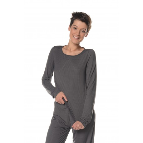 Long sleeve grey t-shirt tall woman sleepwear