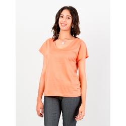 T-shirt corail en jersey de lin